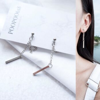 極簡線條鏈條耳環/耳夾