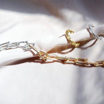 金銀縷空拼色鏈扣手鏈