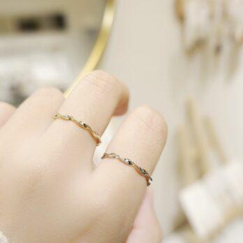 兩色-幼身波浪曲線戒指