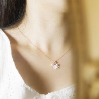 玫瑰金貝殼繁花珍珠頸鏈