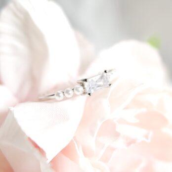 珍珠方塊水鑽開口戒指