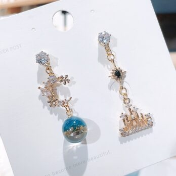 S925-Dancing in the night castle earring