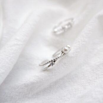 交叉復古珍珠開口戒指