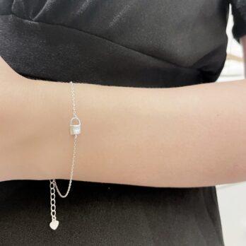 S925 Simple Lock and Key Bracelet