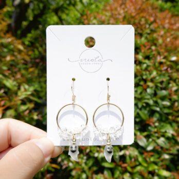 透明水晶小魔鬼耳環/耳夾