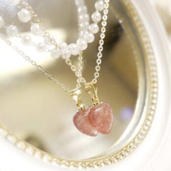 復古雙層愛心草莓晶頸鏈