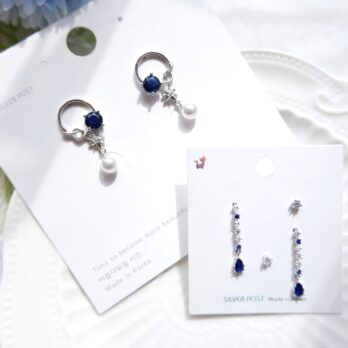 S925-寶藍星空耳環/耳夾