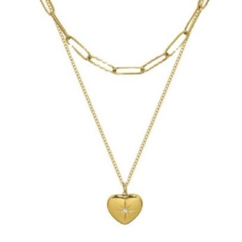 Stainless Steel Stone Heart Necklace