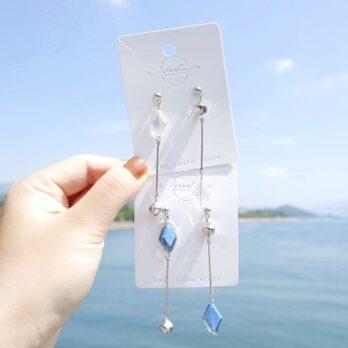 極簡菱形玻璃水晶耳環/耳夾